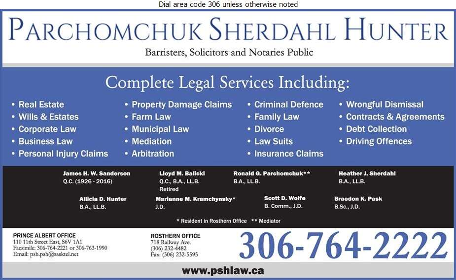 Parchomchuk Sherdahl Hunter (Fax) - Lawyers Digital Ad