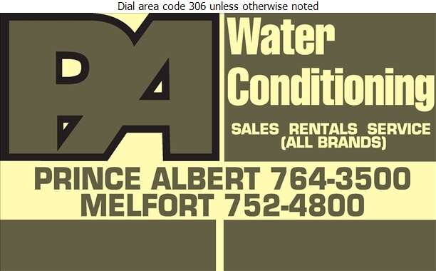 Prince Albert Water Conditioning - Water Softening Equipment Service & Supplies Digital Ad