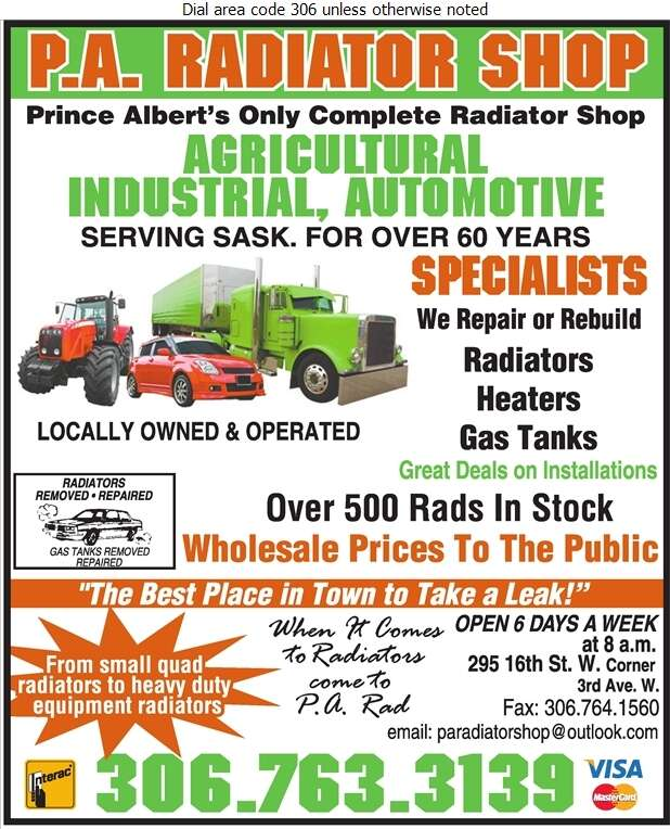 P A Radiator Shop - Radiators Auto & Industrial Digital Ad