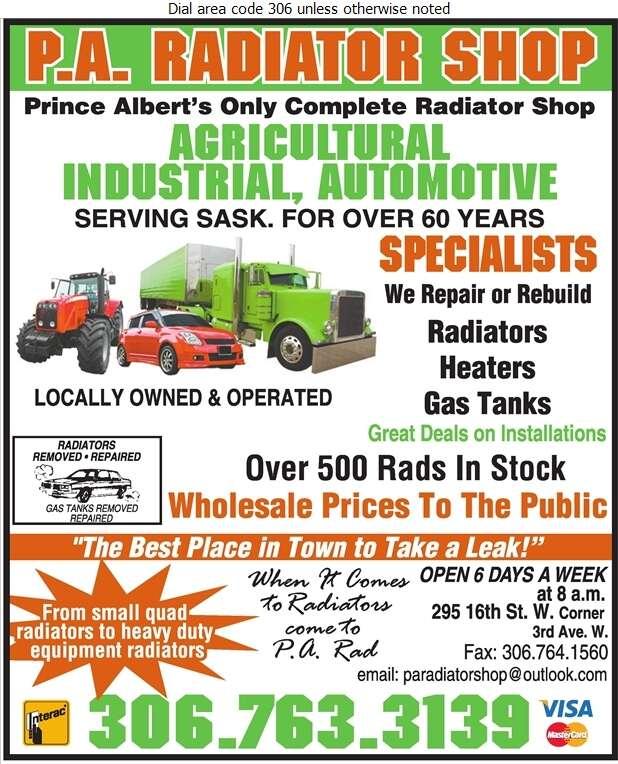 P A Radiator Shop - Radiators Auto & Industrial Digital Ad