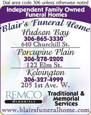 Blair's Porcupine Plain Funeral Home Ltd - Funeral Homes & Planning Digital Ad