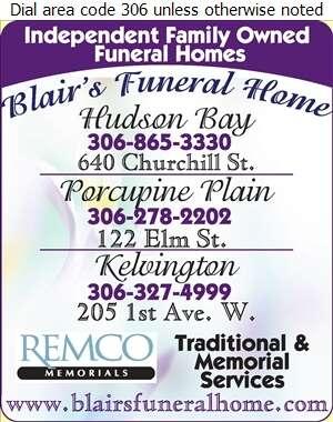 Blair's Porcupine Plain Funeral Home Ltd - Funeral Homes & Planning Digital Ad