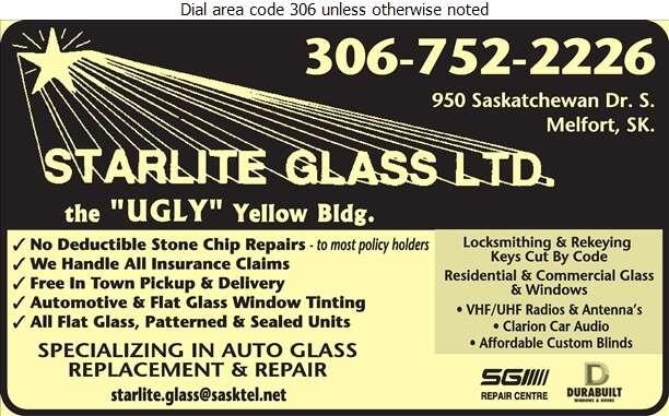 Starlite Glass Ltd - Glass Auto, Float, Plate, Window Etc Digital Ad