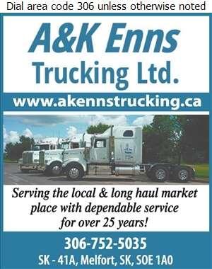 A & K Enns Trucking - Trucking Digital Ad