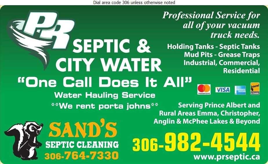 P R Septic & City Water Hauling - Septic Tanks Sales & Service Digital Ad
