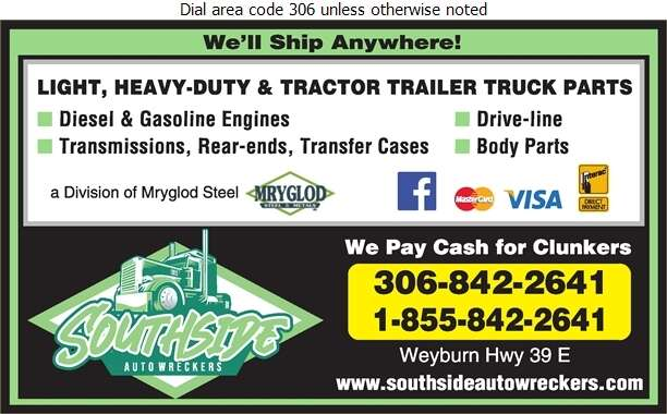 Southside Auto Wreckers (Weyburn) - Truck Equipment & Parts Digital Ad
