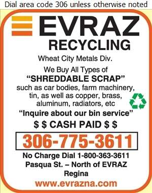 Evraz Recycling (Pasqua St N of EVRAZ) - Scrap Metals Digital Ad