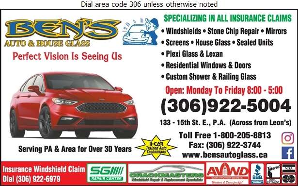 Ben's Auto & House Glass - Glass Auto, Float, Plate, Window Etc Digital Ad