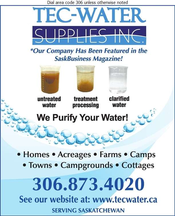 Tec-Water Supplies - Water Treatment Equipment, Service & Supplies Digital Ad