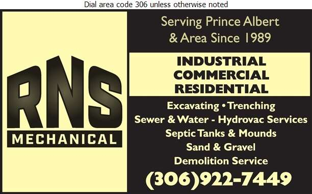 R N S Mechanical - Excavating Contractors Digital Ad