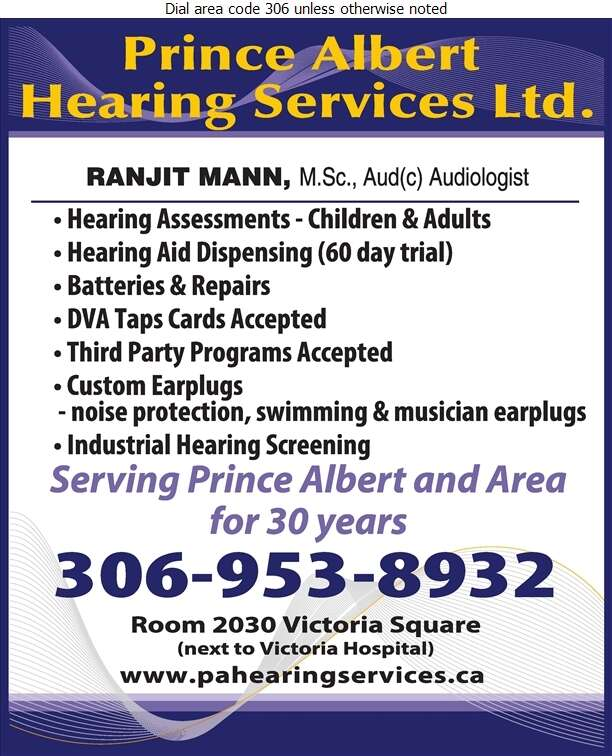 Prince Albert Hearing Services Ltd - Hearing Aid Accessories Sales & Service Digital Ad