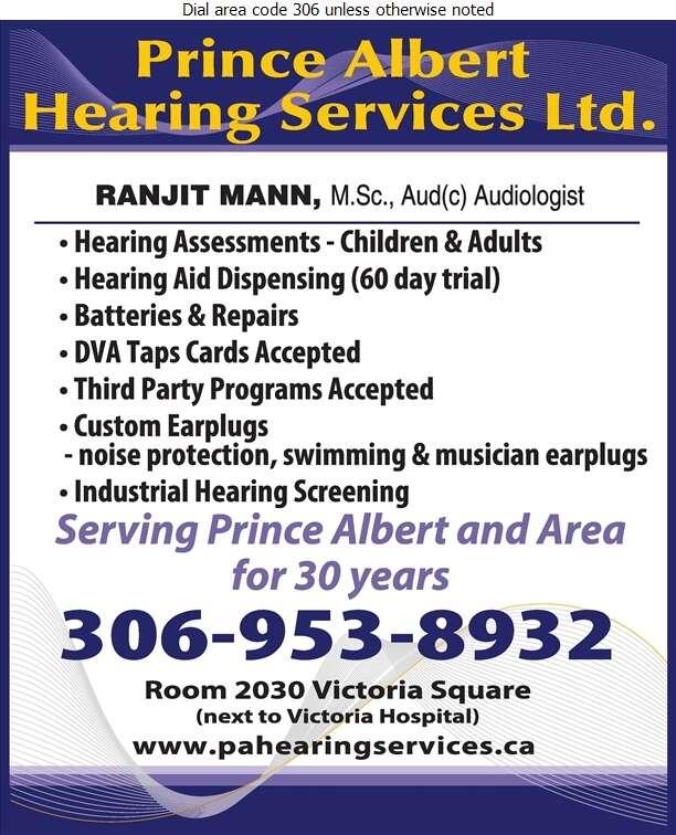 Prince Albert Hearing Services Ltd - Hearing Aid Accessories Sales & Service Digital Ad
