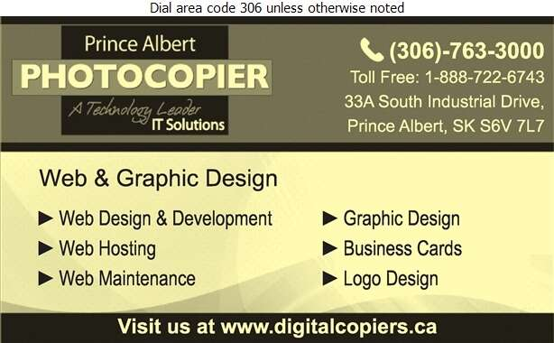 Prince Albert Photocopier - Web Page Designing & Hosting Digital Ad