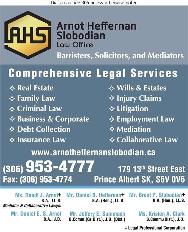 Arnot Heffernan Slobodian Law Office - Lawyers Digital Ad