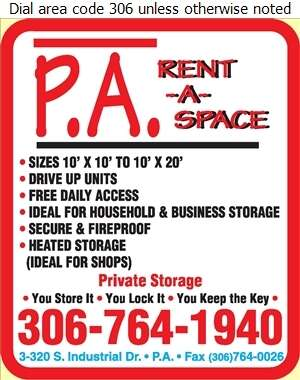 P A Rent-A-Space - Storage- Household & Commercial Digital Ad