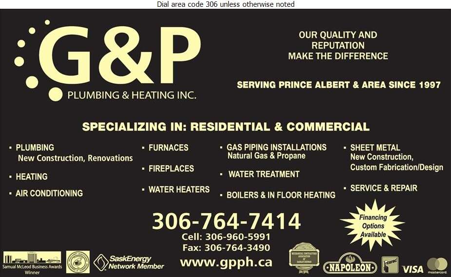 G & P Plumbing & Heating Inc - Plumbing Contractors Digital Ad