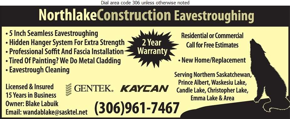 North Lake Eavestroughing - Eavestroughing Digital Ad