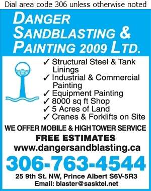 Danger Sandblasting & Painting 2009 Ltd - Sandblasting Digital Ad