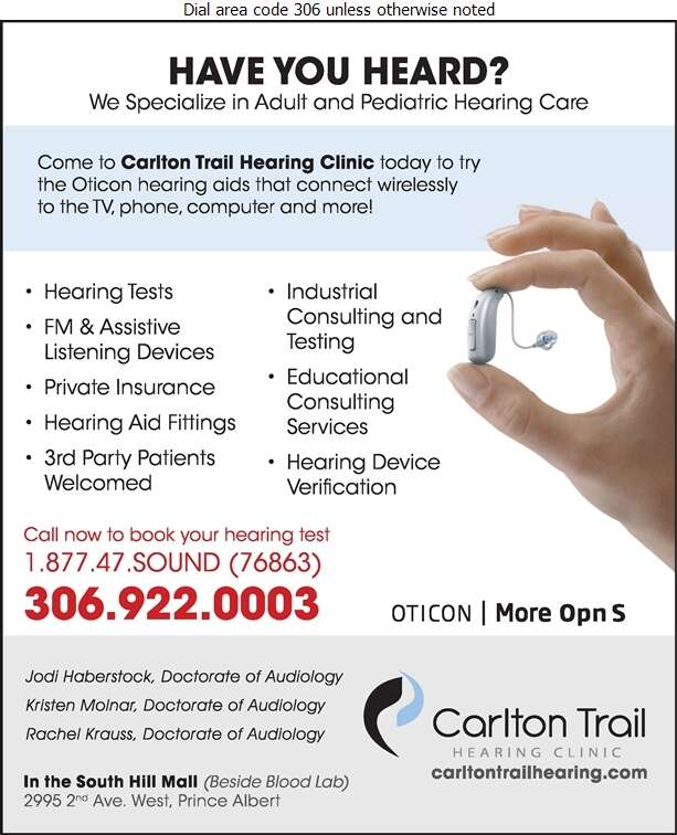 Carlton Trail Hearing Clinic - Hearing Assessment & Hearing Aids Digital Ad