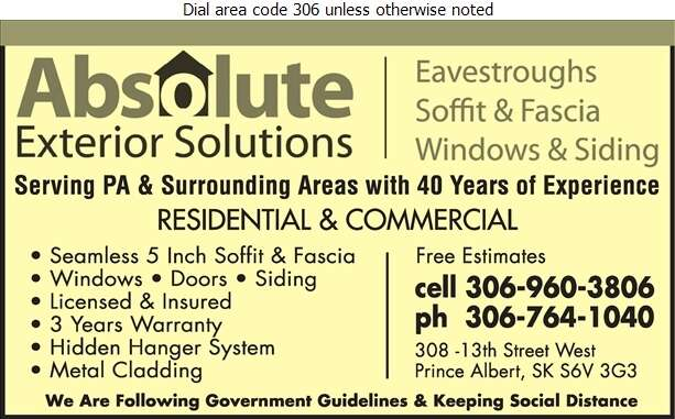 Absolute Exterior Solutions - Eavestroughing Digital Ad