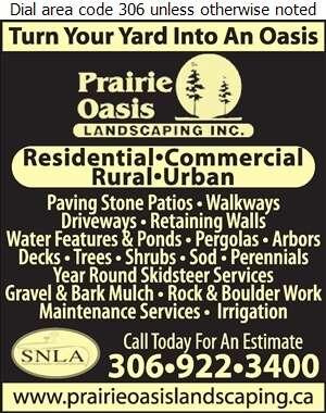 Prairie Oasis Landscaping Inc - Landscape Contractors & Designers Digital Ad