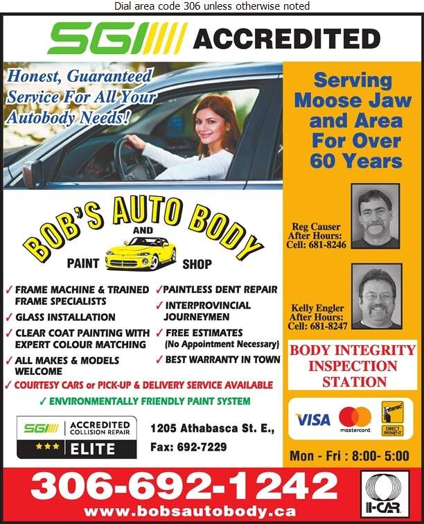 Bob's Auto Body & Paint Shop (Reg Causer After Hours) - Auto Body Repairing Digital Ad