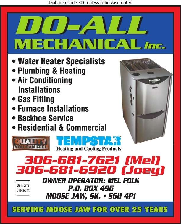Do-All Mechanical (Mel Folk Owner - Operator) - Plumbing Contractors Digital Ad