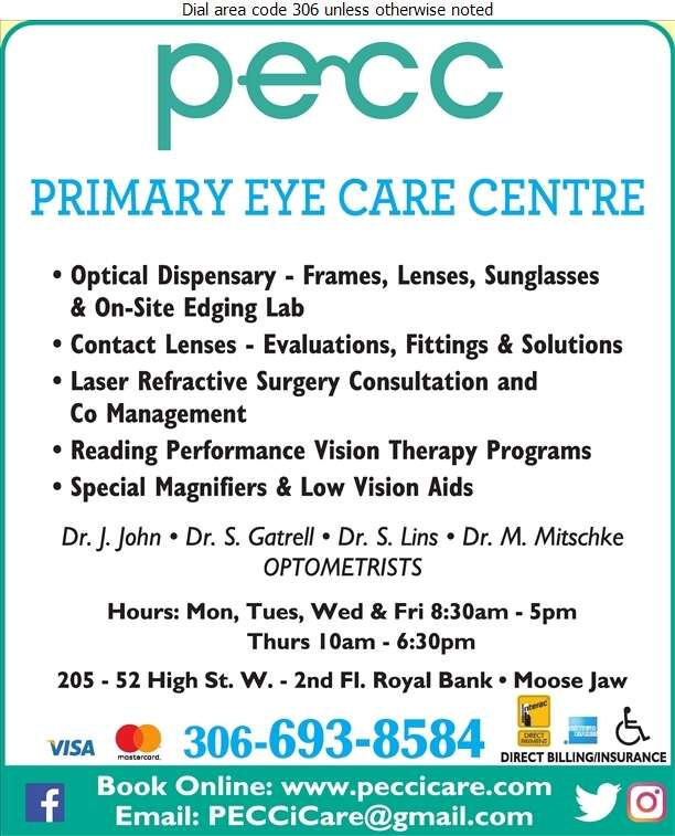 Primary Eye Care Centre (2nd Floor Royal Bank Building) - Optometrists Digital Ad