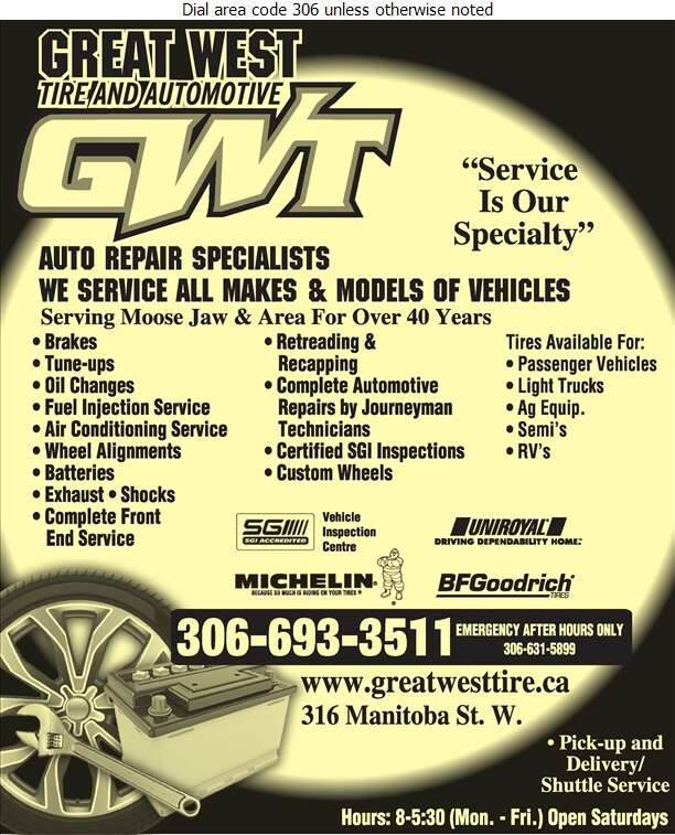 Great West Tire & Automotive (Or After Hours) - Auto Repairing Digital Ad