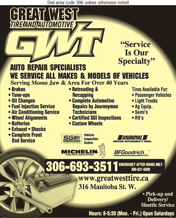 Great West Tire & Automotive (Or After Hours) - Tire Dealers Retail Digital Ad