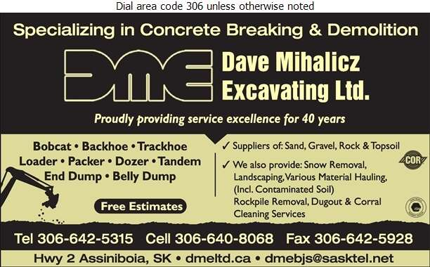 Dave Mihalicz Excavating Ltd (Residence) - Excavating Contractors Digital Ad