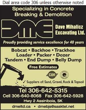 Mihalicz Dave Excavating Ltd - Excavating Contractors Digital Ad