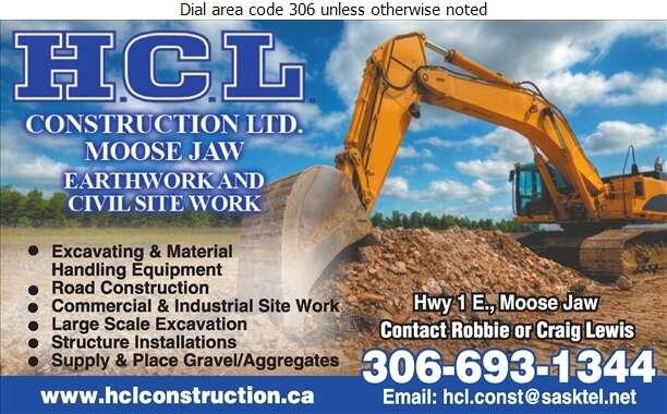 H C L Construction Ltd - Excavating Contractors Digital Ad