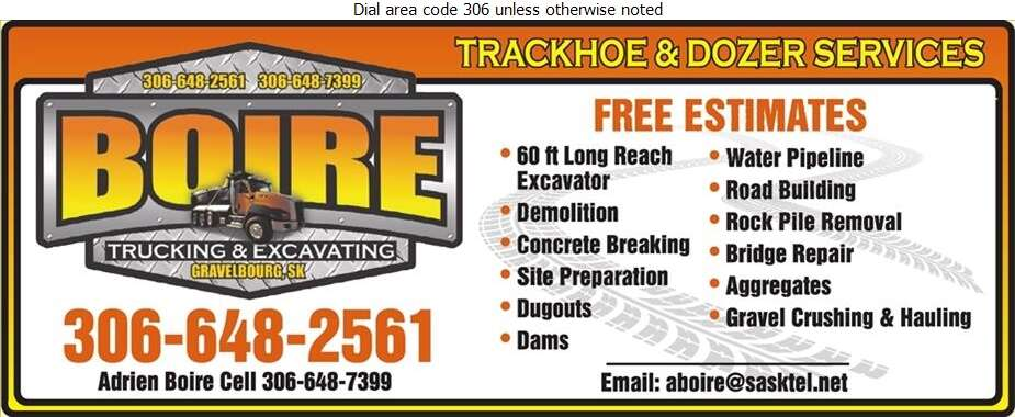 Boire Trucking Ltd - Excavating Contractors Digital Ad