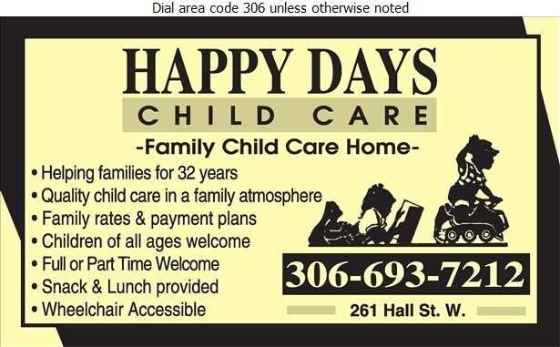 Happy Days Child Care - Day Care Centres & Nurseries Digital Ad