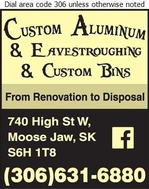 Custom Aluminum and Eavestroughing & Custom Bins - Garbage Collection Digital Ad
