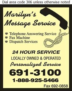 Marilyn's Message Service - Telephone Answering Service Digital Ad