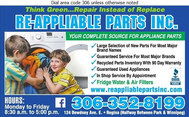 Re-Appliable Parts Inc - Appliances Major Sales, Service & Parts Digital Ad