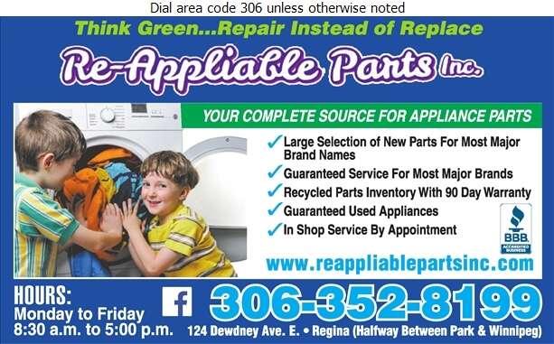 Re-Appliable Parts Inc - Appliances Major Sales, Service & Parts Digital Ad