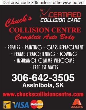 Chuck's Collision Centre Ltd - Auto Body Repairing Digital Ad