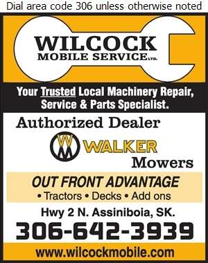 Wilcock Mobile Service - Lawn Mowers Sales & Service Digital Ad