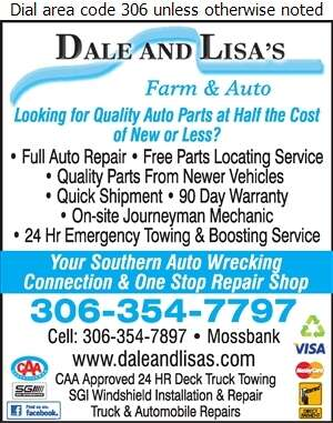 Dale & Lisa's Farm & Auto Ltd - Auto Wrecking Digital Ad