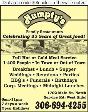 Humpty's Family Restaurant-Moose Jaw - Caterers Digital Ad