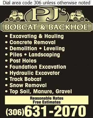 PJ's Bobcat & Backhoe - Excavating Contractors Digital Ad