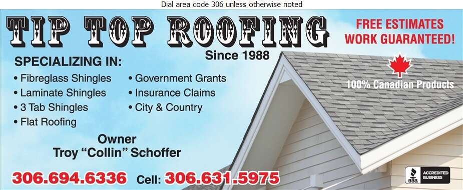 Tip Top Roofing (Owner Collin Schoffer) - Roofing Contractors Digital Ad