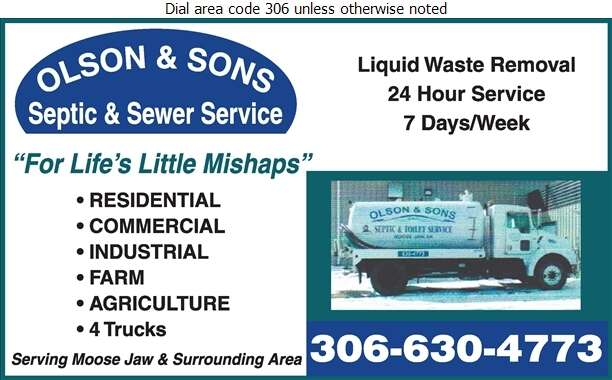 Olson & Sons Septic Truck & Sewer Service - Septic Tanks Sales & Service Digital Ad