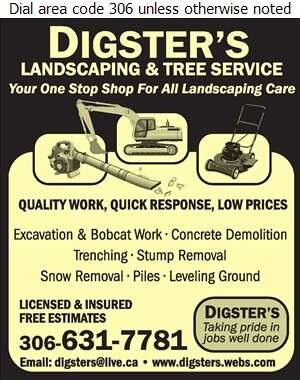 Digsters Landscaping - Excavating Contractors Digital Ad