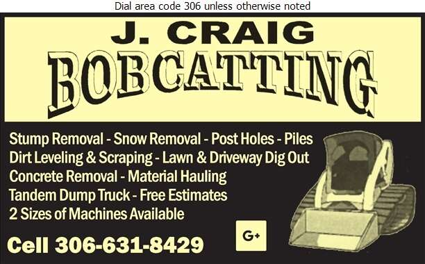 J Craig Bobcatting - Excavating Contractors Digital Ad
