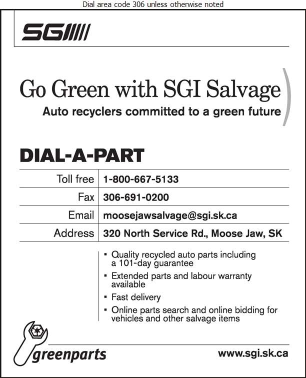 SGI Salvage (320 North Service Road) - Auto Parts & Supplies Used & Rebuilt Digital Ad