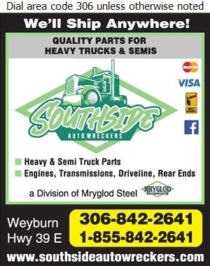 Southside Auto Wreckers (Weyburn) - Truck Equipment & Parts Digital Ad